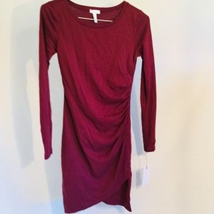 LEITH Red Merlot ruched dress NWT